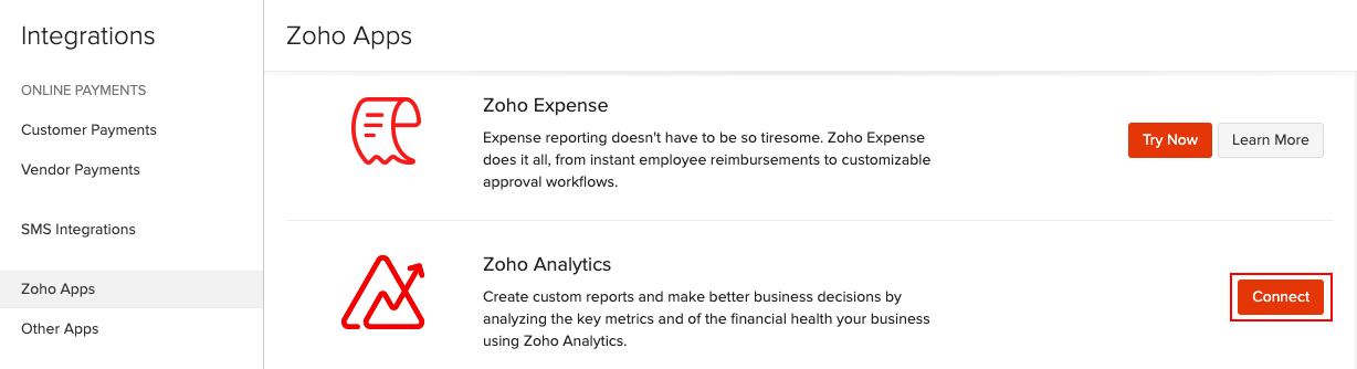 Connect with Zoho Analytics