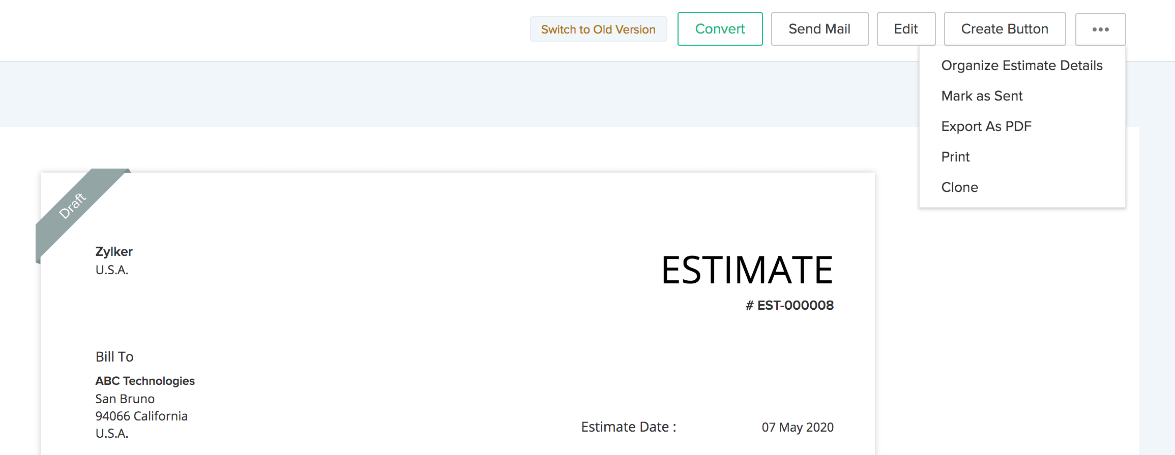 Estimate Options