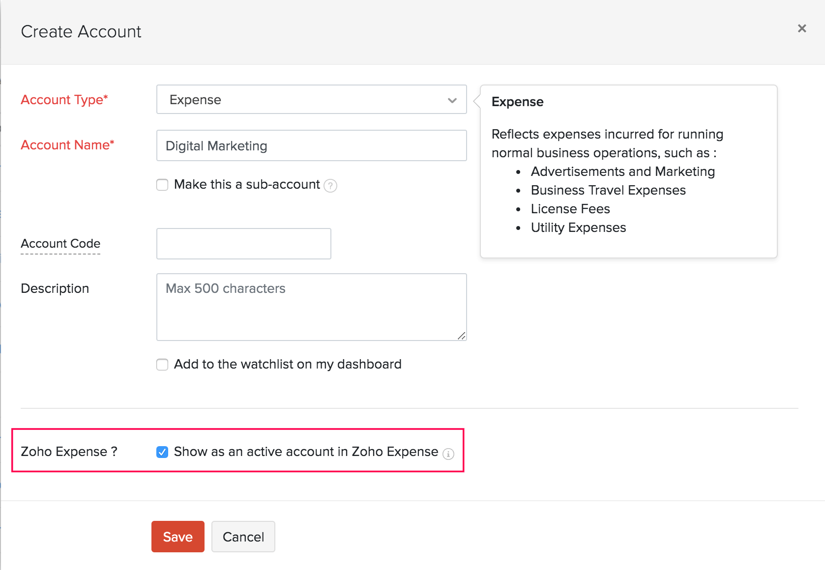 Create Expense Account