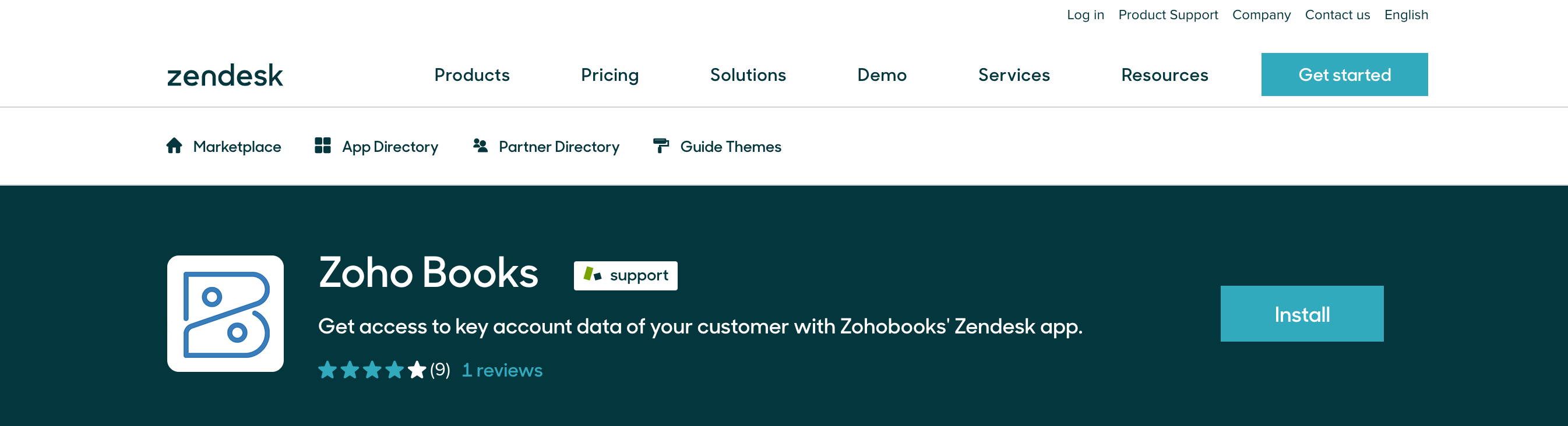 Install Zoho Books from Zendesk