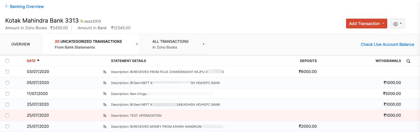 Uncategorised transactions