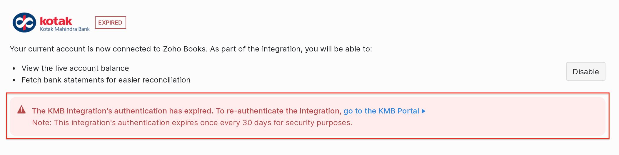 Reauthenticate KMB integration