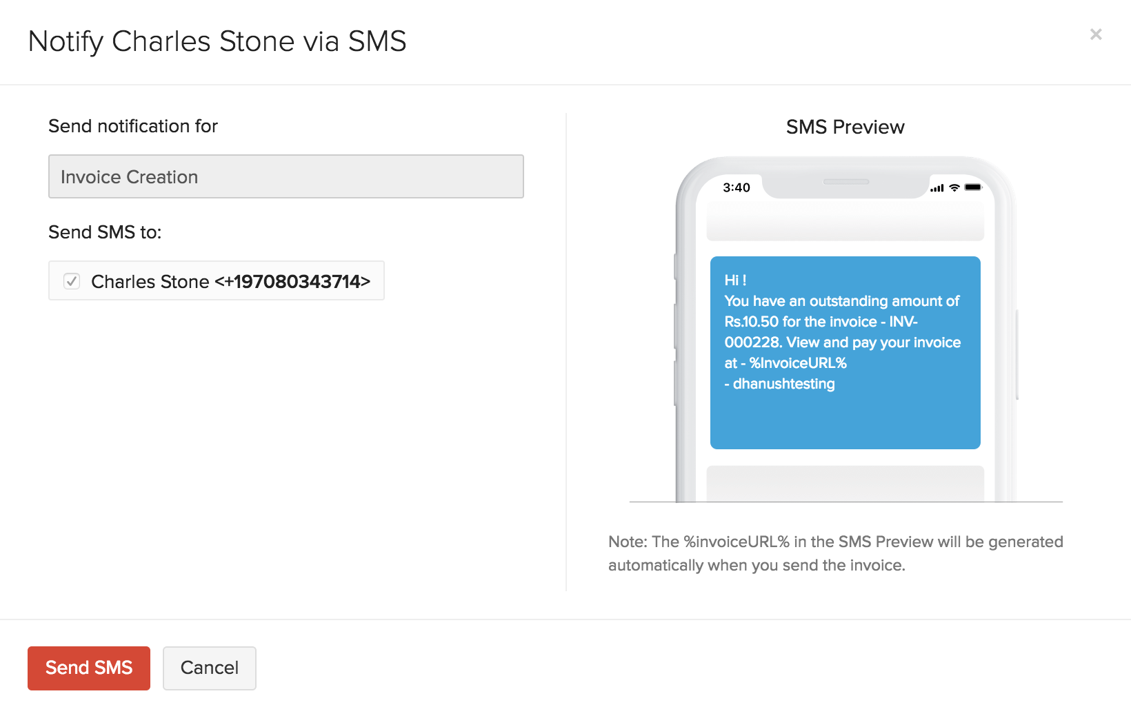 Preview SMS Notification