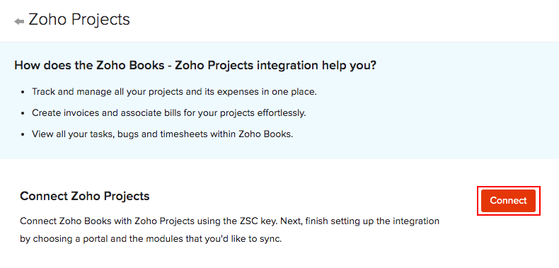 Zoho Projects Connect