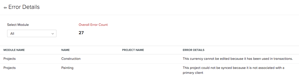 Zoho Projects Error Details