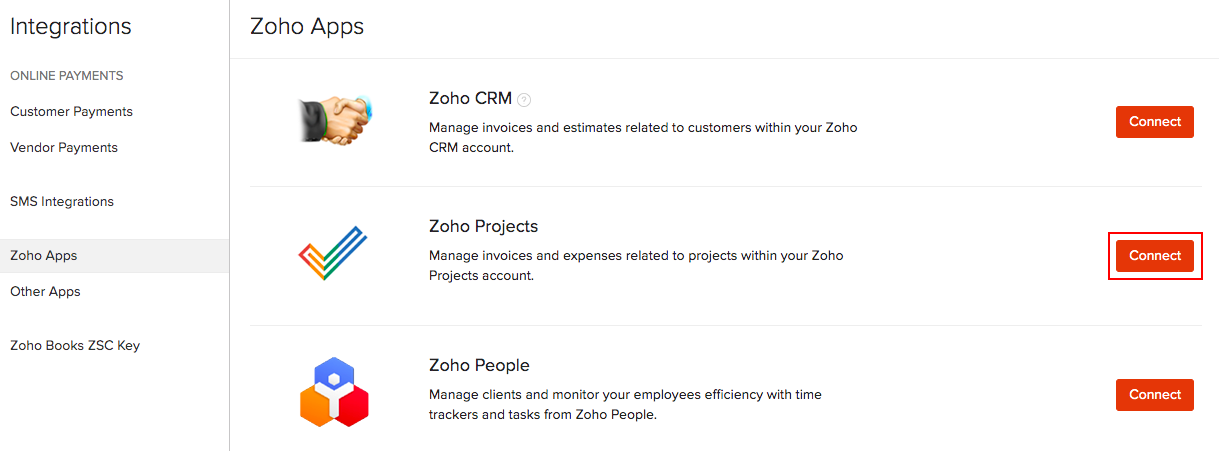 Zoho Projects Integration List Page