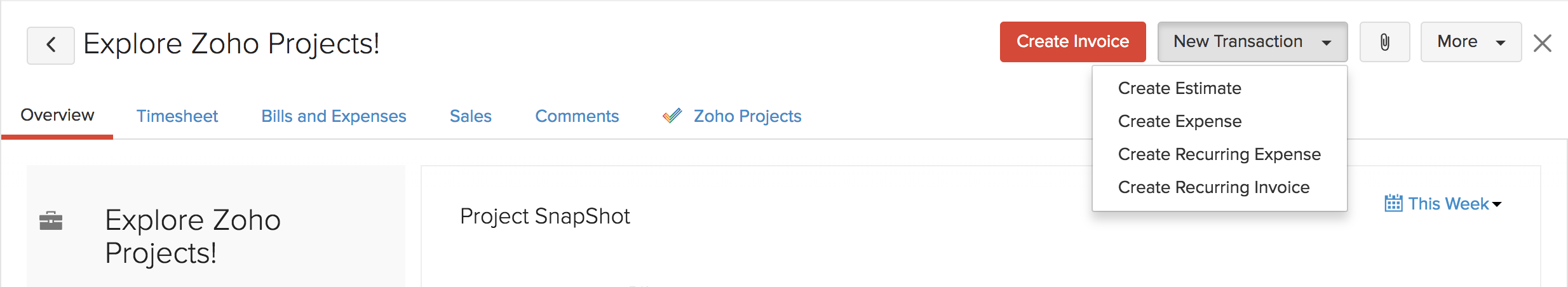 Zoho Projects Create Transactions