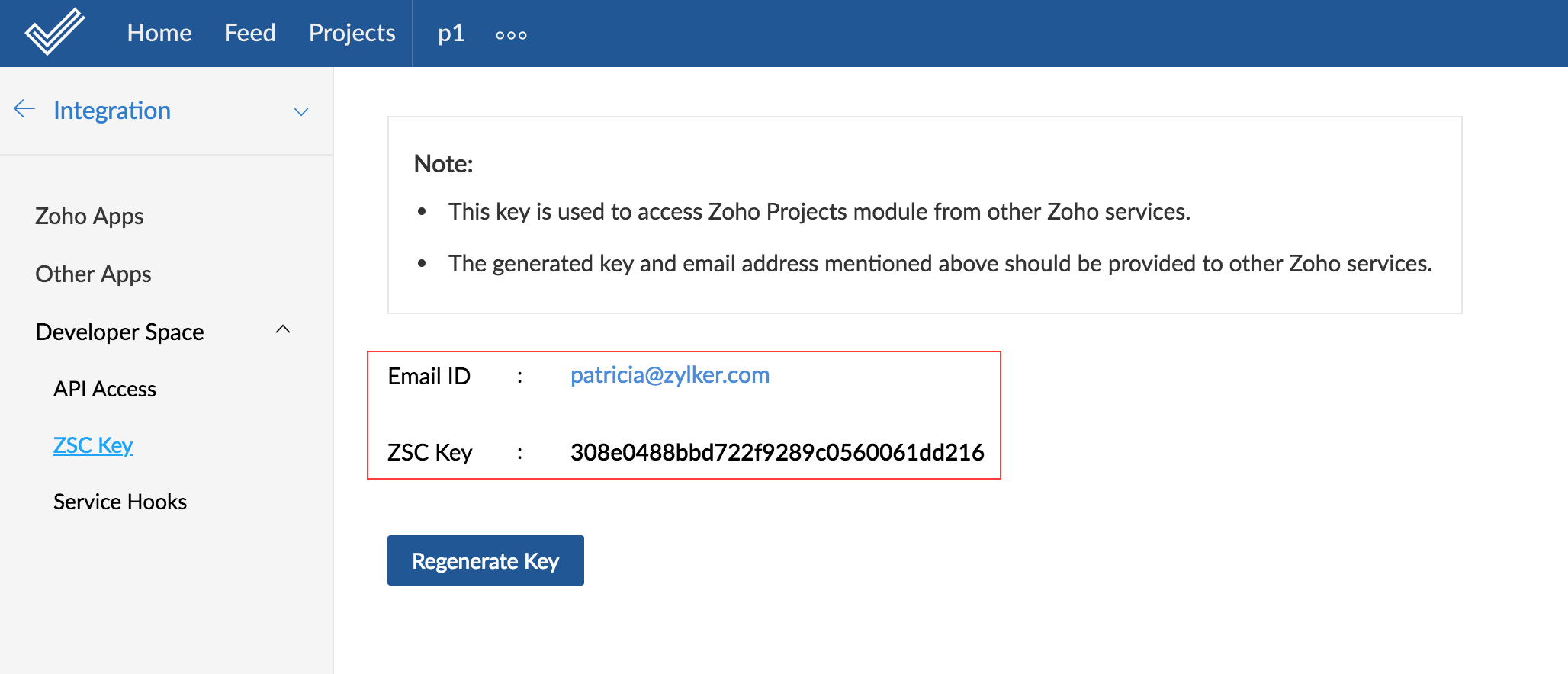 Zoho Projects ZSC Key