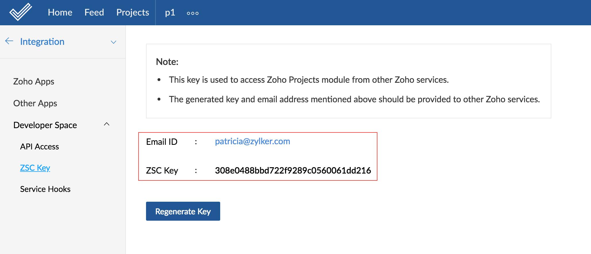 Zoho Projects ZSC Key