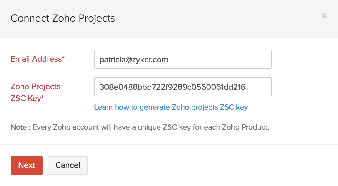 Zoho Projects Enter ZSC Key