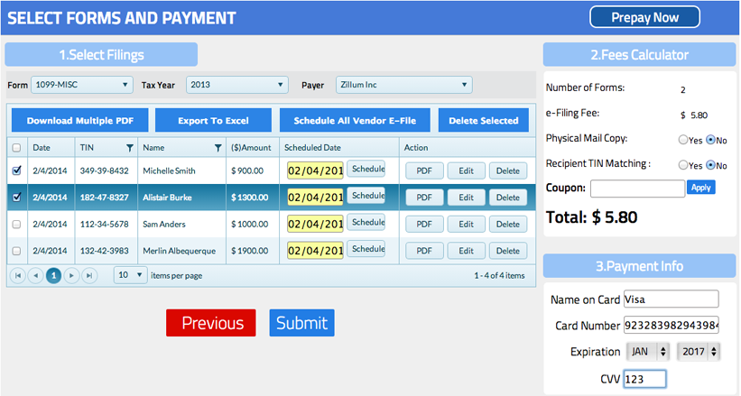 Select forms and payment