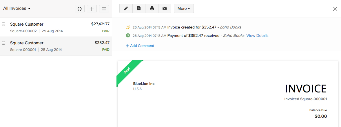 Zoho BooksSquare Integration Help Zoho Books - Send invoice on square