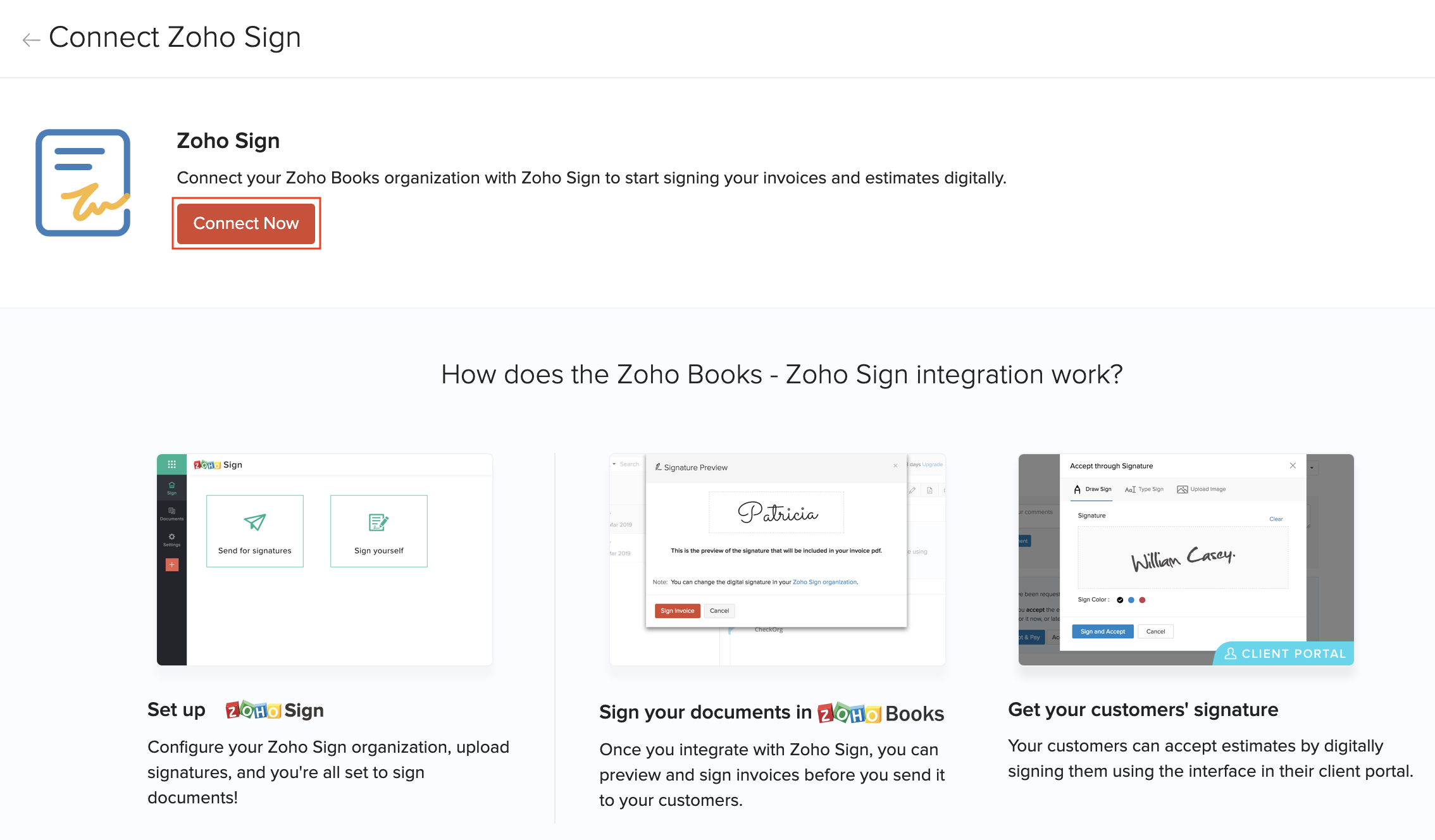 Zoho Sign Details Screen