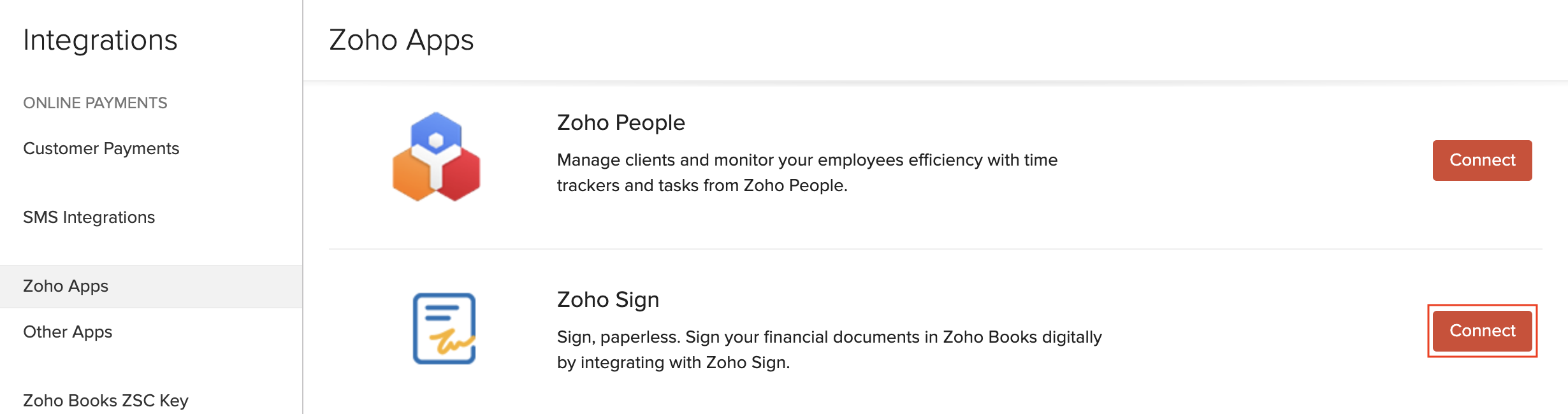 Connect to Zoho Sign