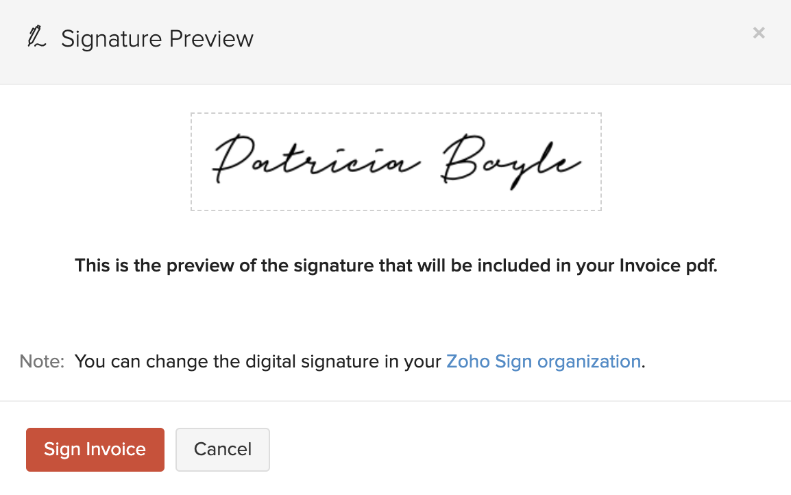 Preview Zoho Sign Signature
