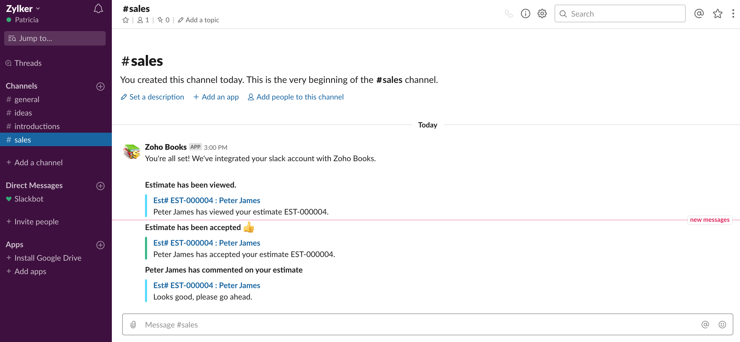 Slack integration view
