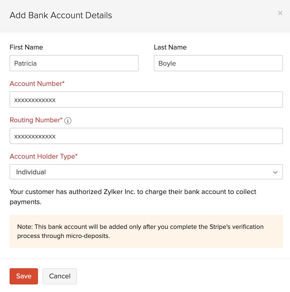 Add Bank Details