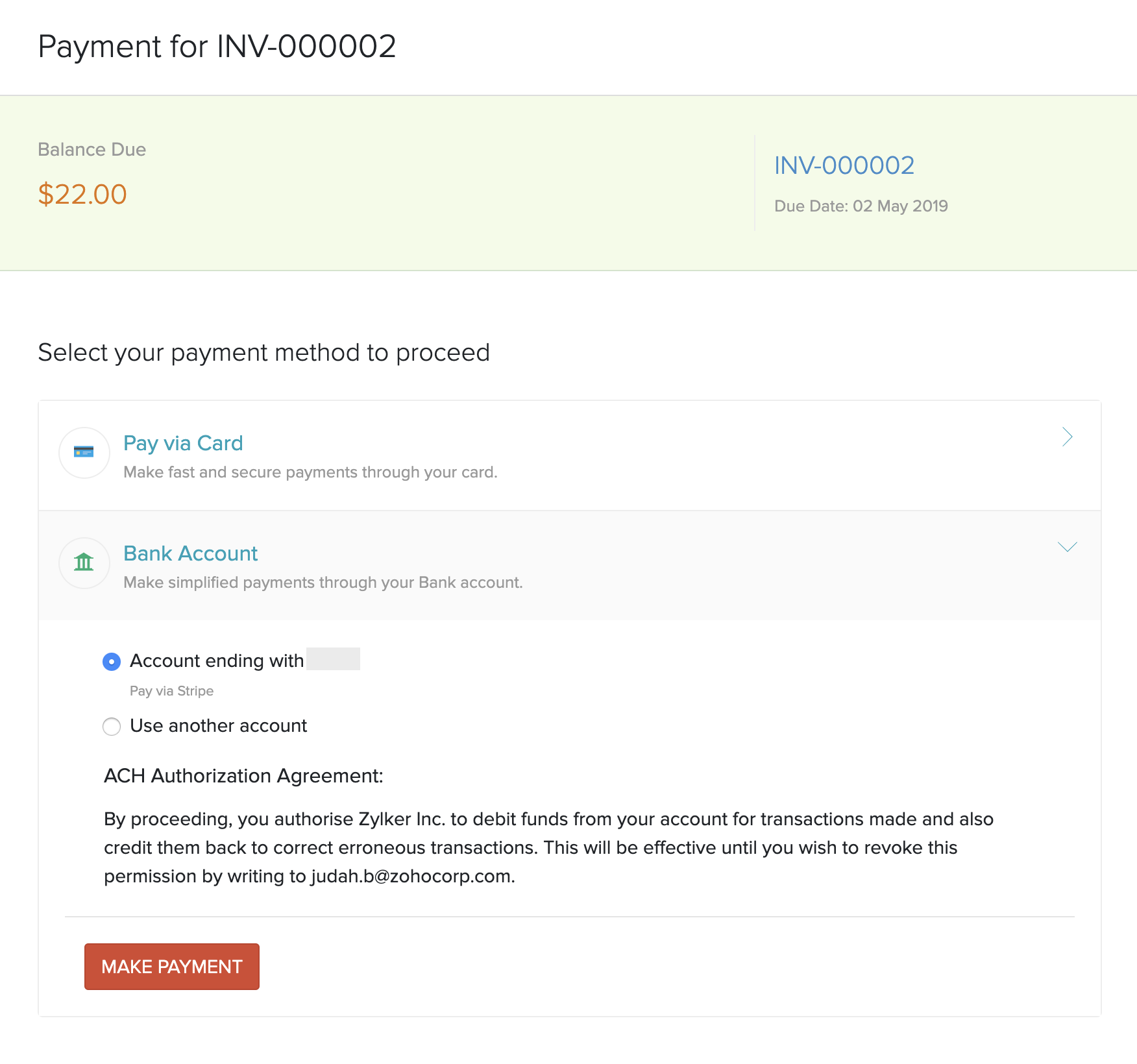 Make Stripe Payment