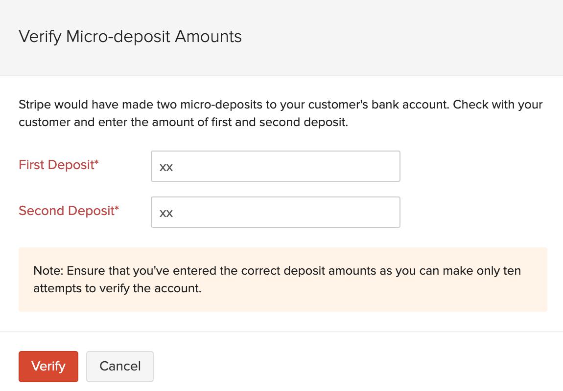 Micro Deposit Amounts
