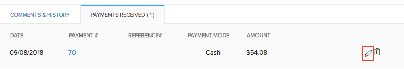 Edit Payments Received