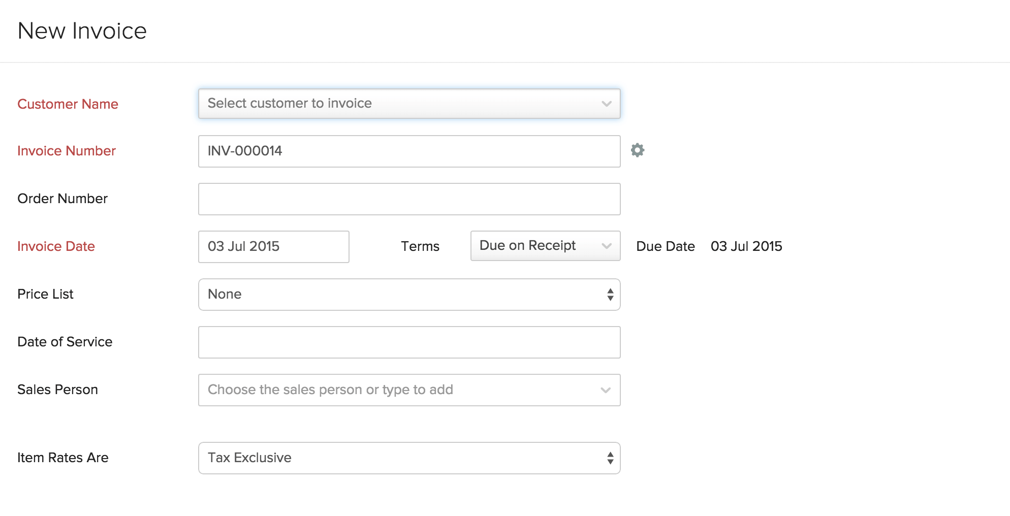 Creating New Invoice  Creating An Invoice