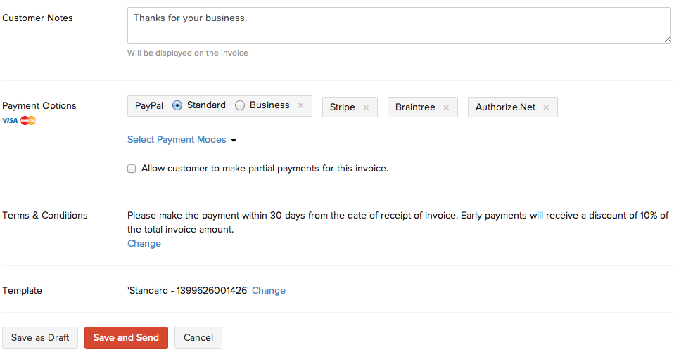 Invoices Help Zoho Books - Partial payment invoice template