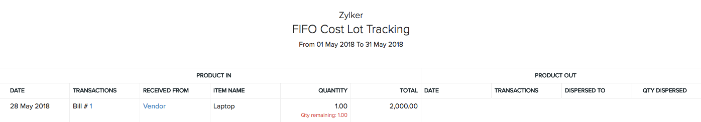 FIFO Cost Lot Tracking
