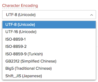Item Import - Character encoding type