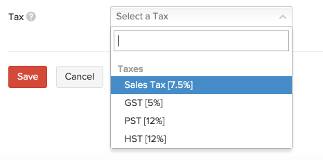 New Item - Select Tax
