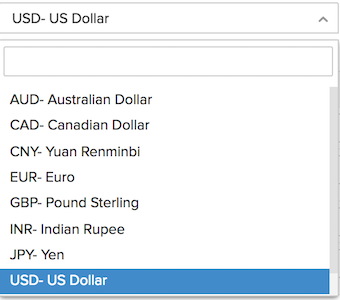 Price List - Currency dropdown