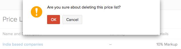 Price list - Delete