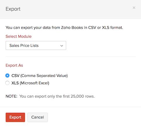Export Price list - Save