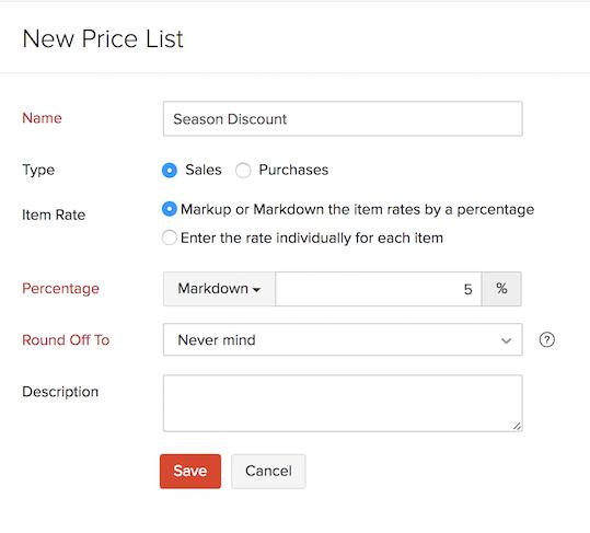 Price list - markup