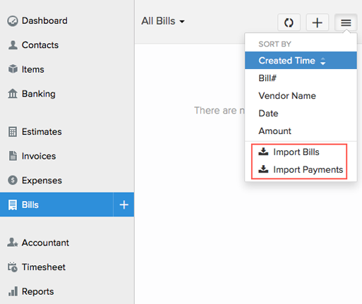 Import Bills into Zoho Books