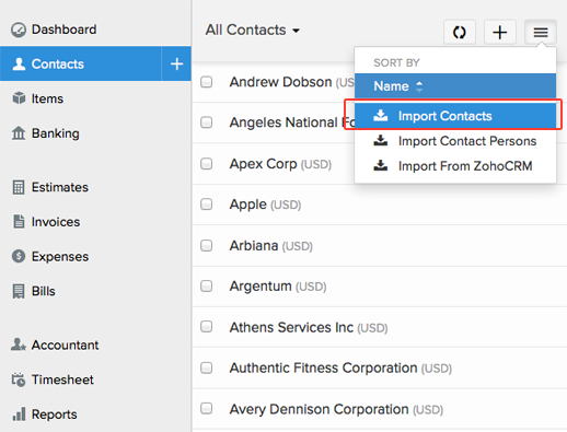 Import Contacts in Zoho Books