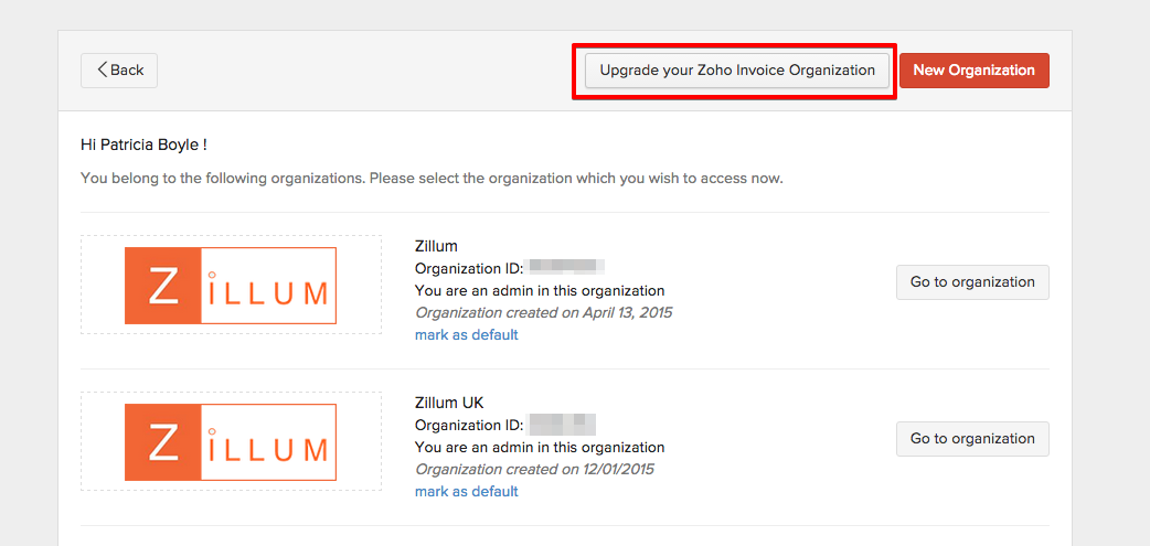 Import Organization from Zoho Invoice
