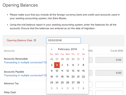 Opening Balance in Zoho Books