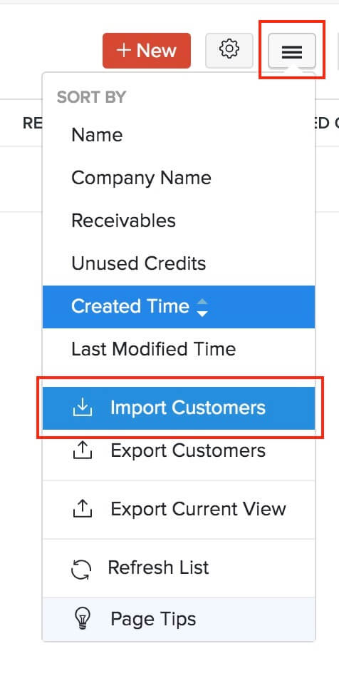 Import Customers