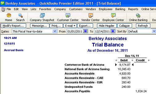 Trial Balance in QuickBooks