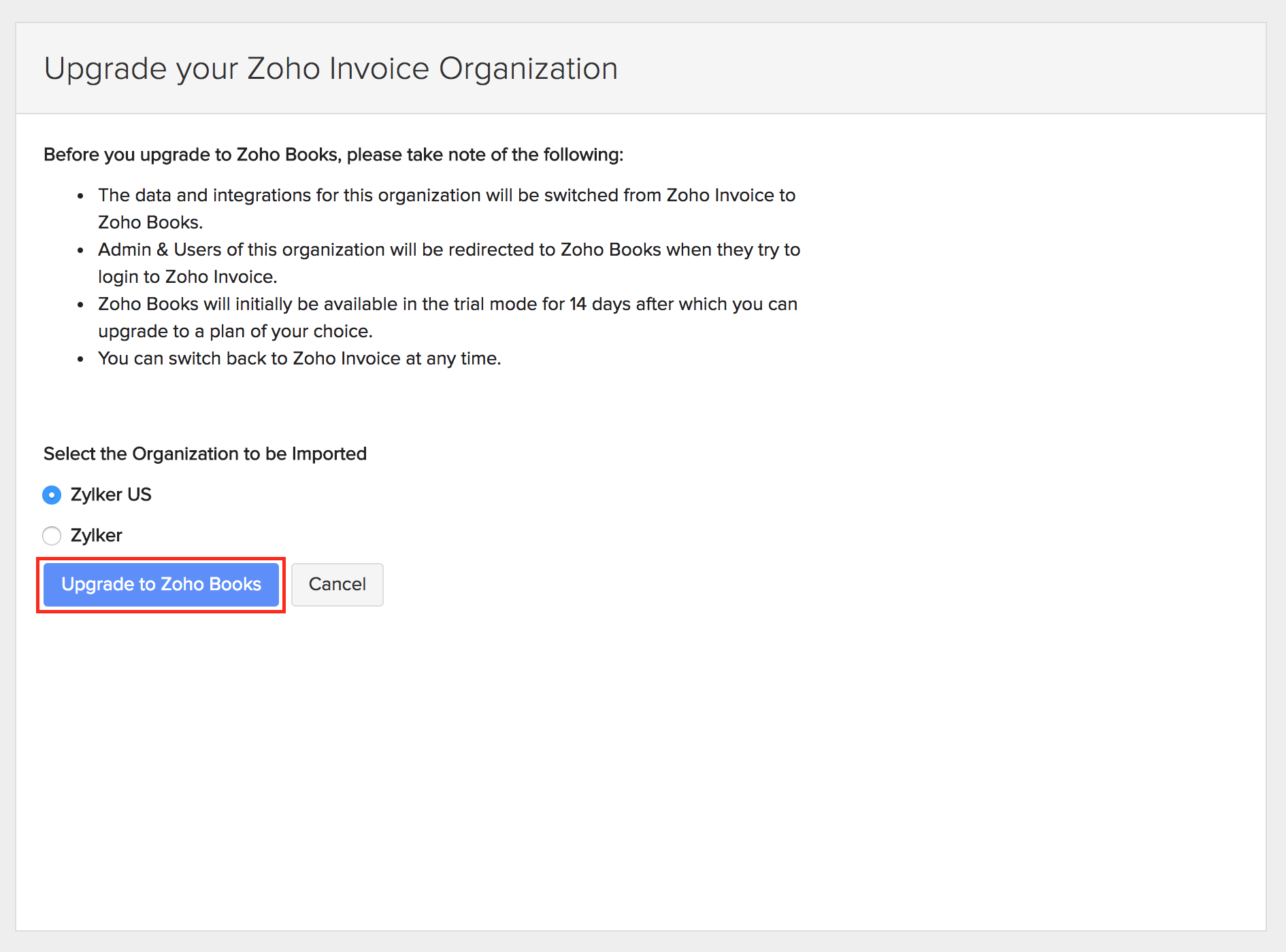 upgrade to zoho books from zoho invoice | user guide, Invoice examples