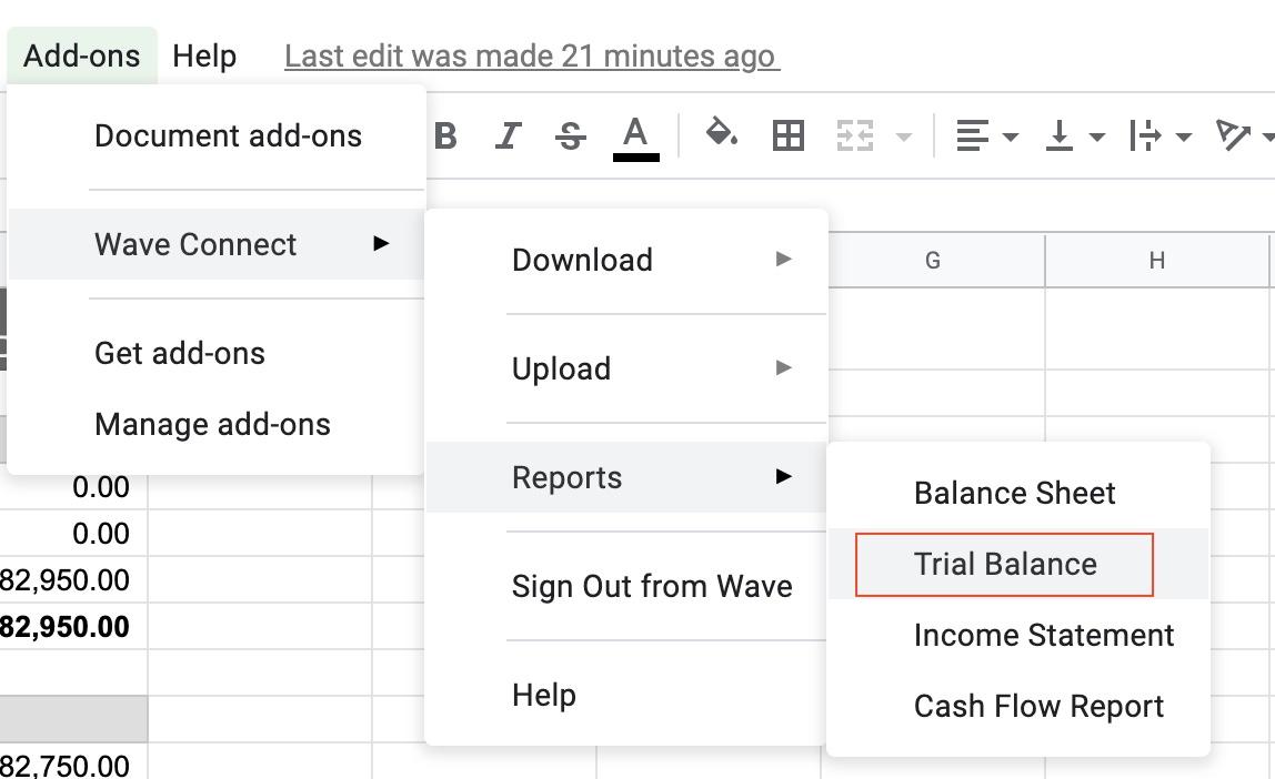 Download Trial Balance Report Menu