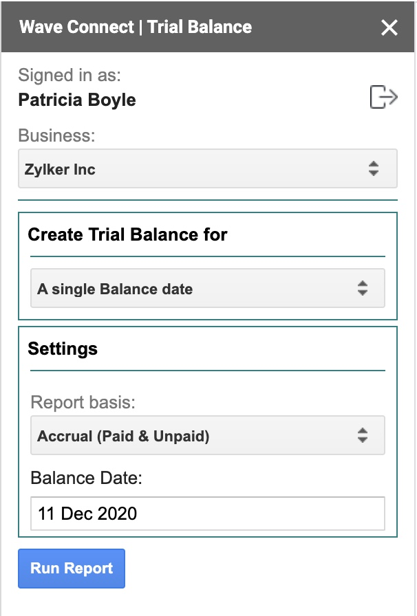 Trial Balance popup