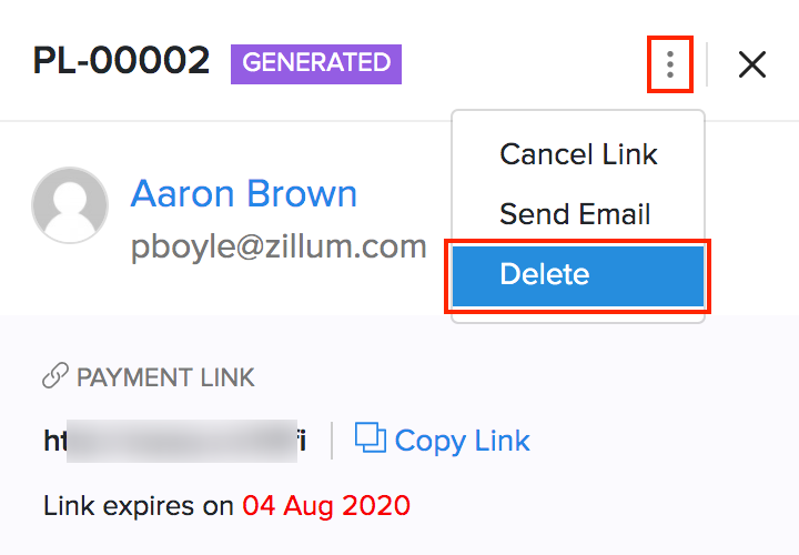 Delete Payment Links