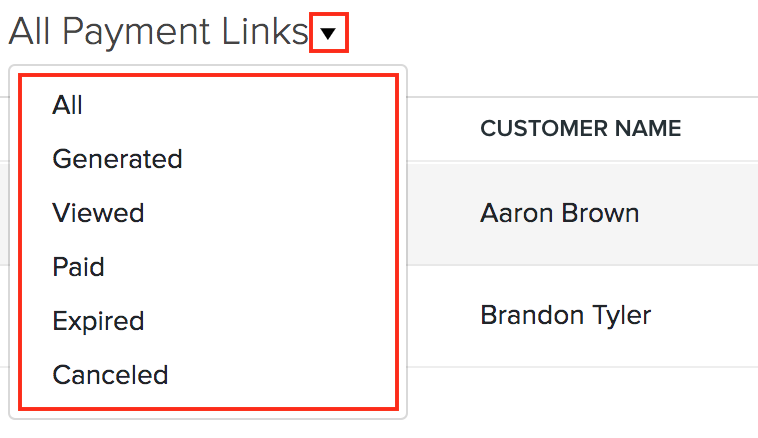 Filter Payment Links