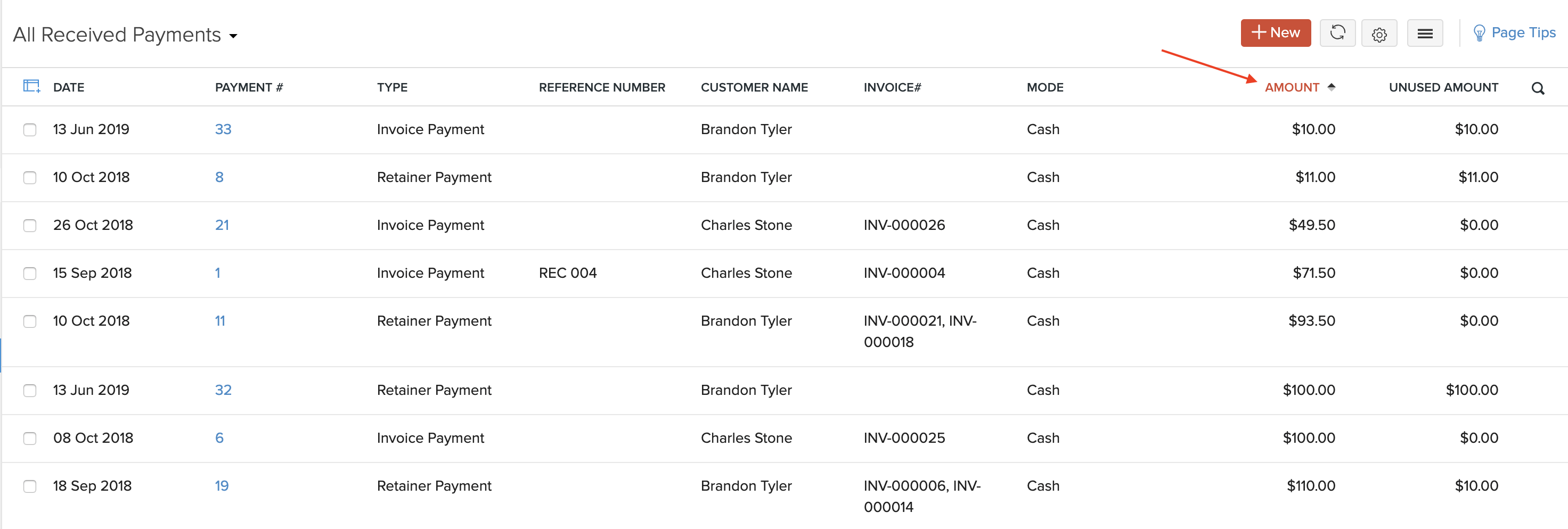 Sort Payments Received