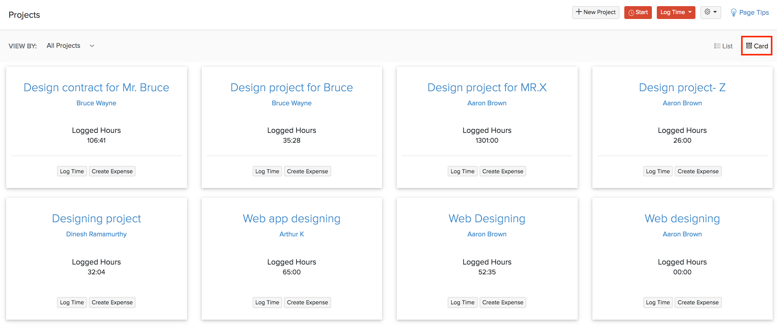 Card View Projects