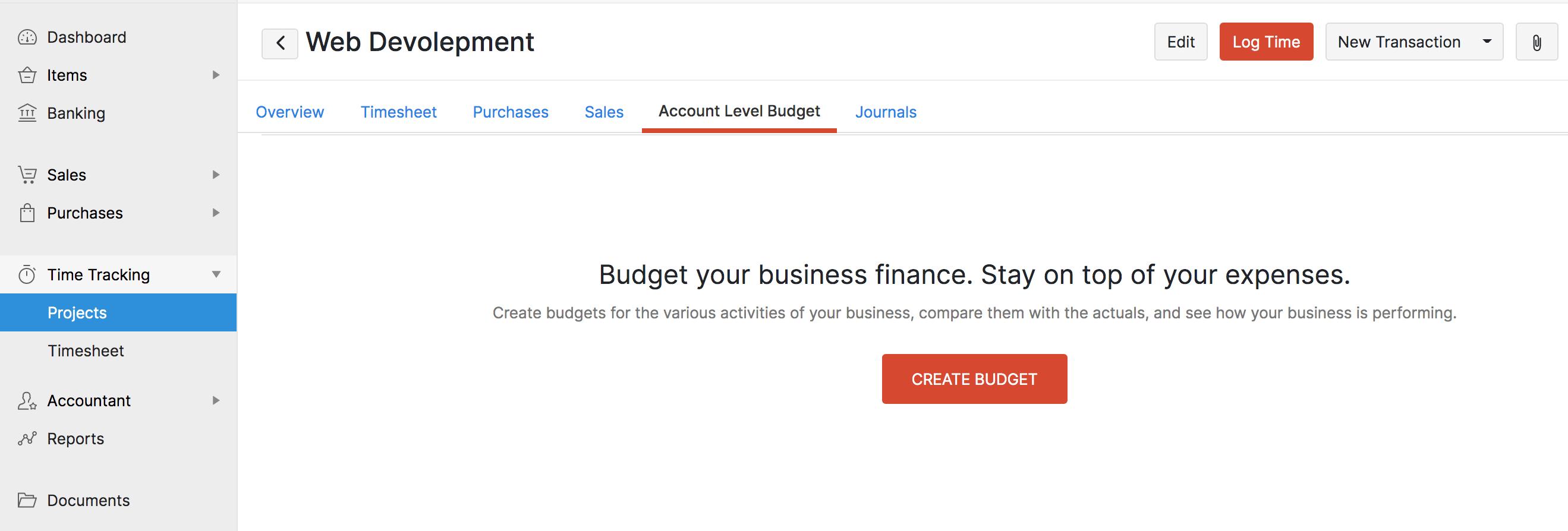 Create New Budget