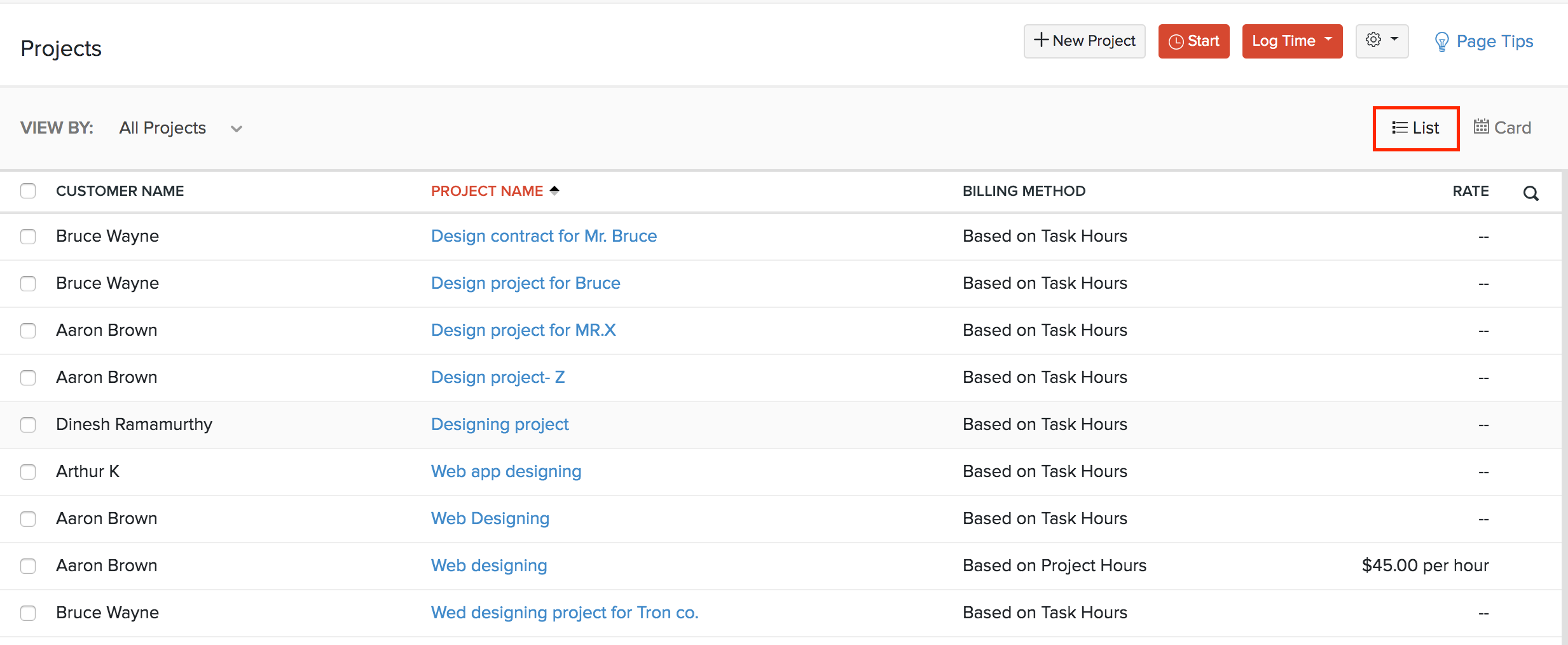 List View Projects