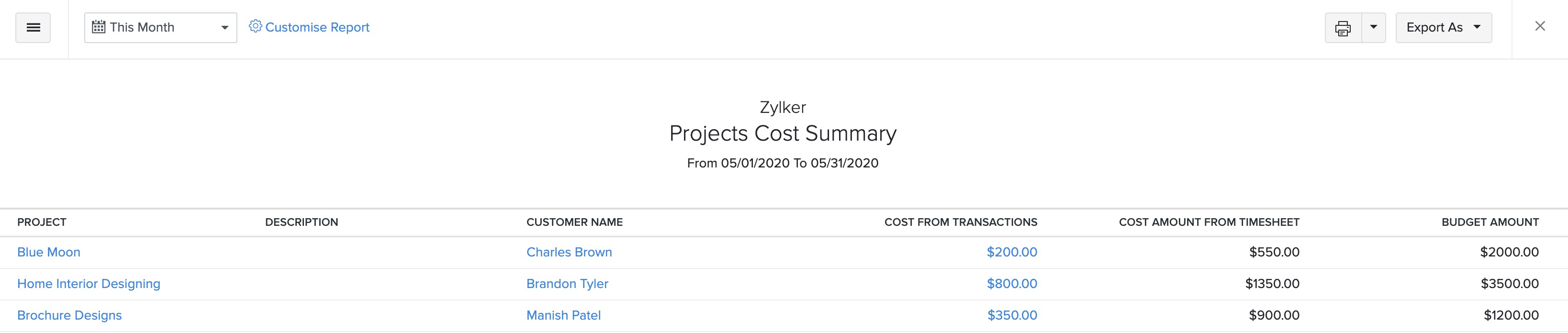 Project Cost Summary Report