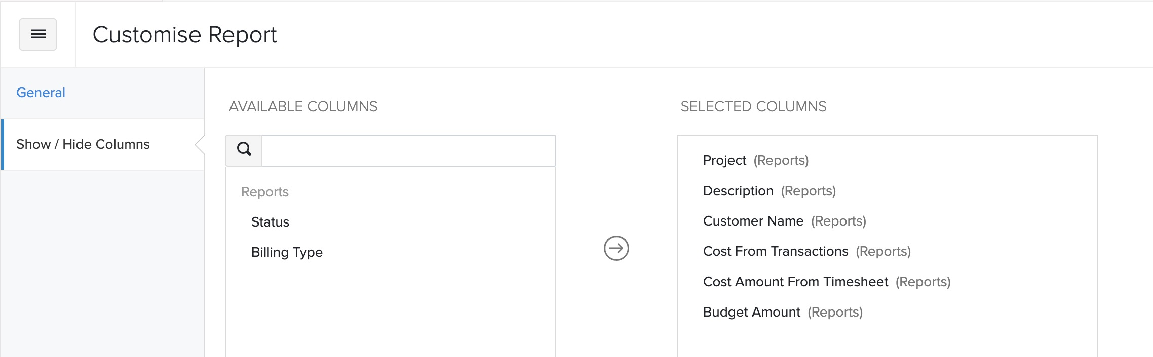 Show or Hide Columns Project Cost Summary